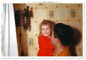 Kathy's Daddy shows her the cuckoo clock. Look how happy she is!