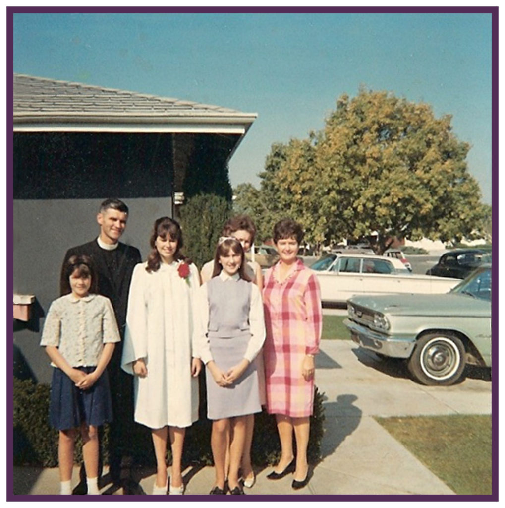 The goody-two-shoes preacher's daughter Kathy (in confirmation white)