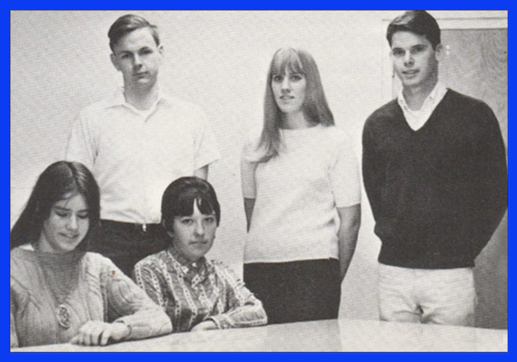 Two of three female students in photo above (Literary Magazine) are named Cathy/Kathy. Cathy Hoover and Kathy Knutsen. Also pictured, Tal Pomeroy , Erin Heinlein and Gail Kaiser.