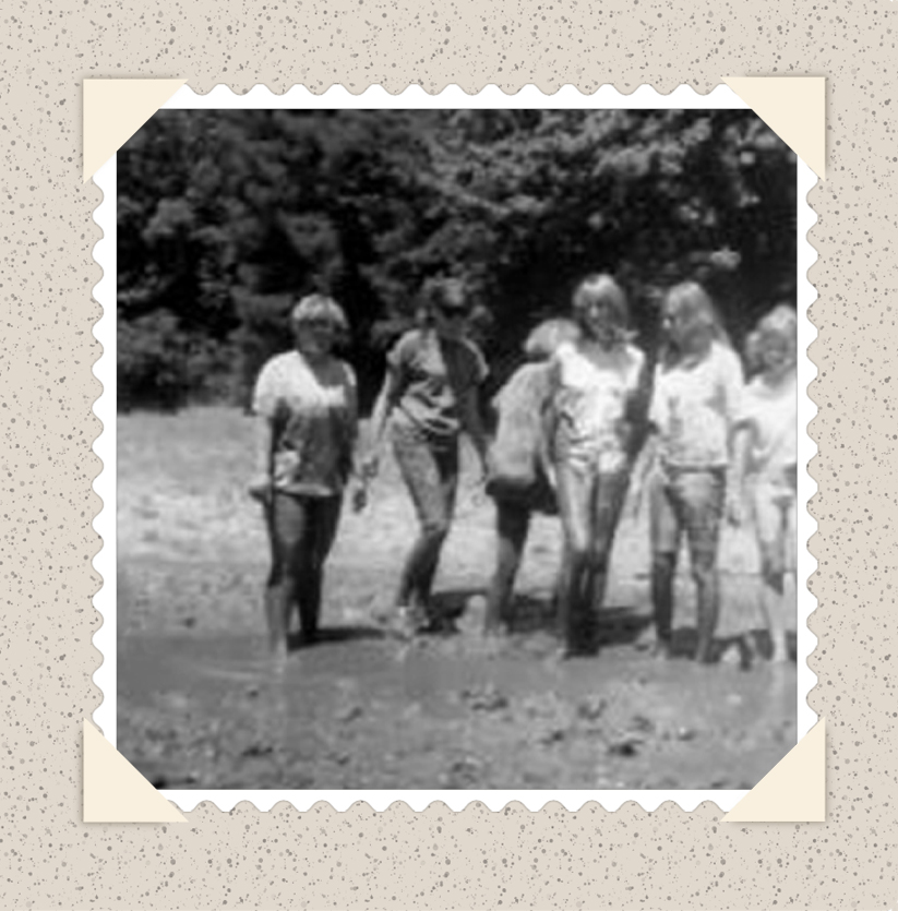 Natalie far left. Me next to her. Probably.y at Mount Cross Bible Camp.