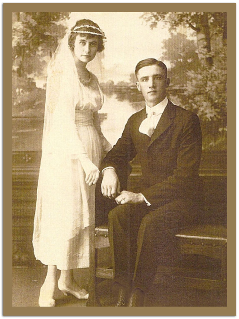 GRANDMA AND GRANDPA KNUTSEN ON THEIR WEDDING DAY