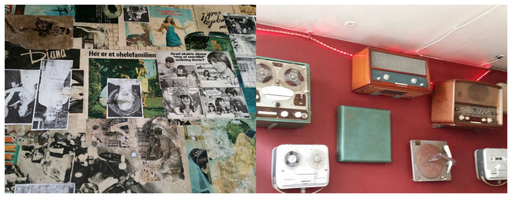 A '60s lunch tabletop and the restaurant wall - festooned with old reel-to-reel tape players , record players etc - some of the kids had never seen such things!