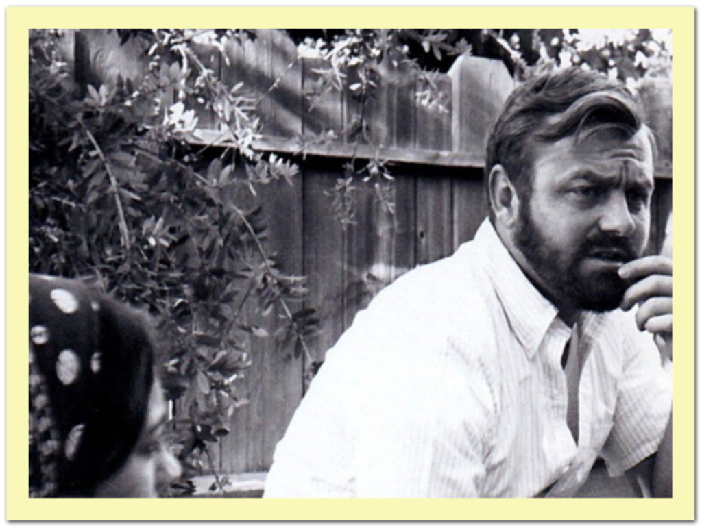 Gerry Farrington looks thoughtful, talking to Vania Brown in his Fresno backyard in 1970
