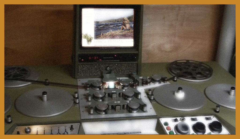 A Moviola is a device that allows a film editor to view a film while editing.