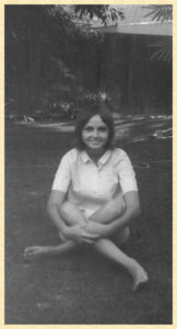 Sweet shy Mary in our backyard in the sixties