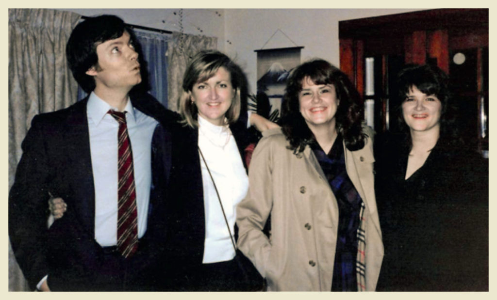 I have no photos from the party, alas, so I'm using photos of the people mentioned in the blog taken (I think) in 1986. From l to r, John, Janet, myself, Joyce Salter