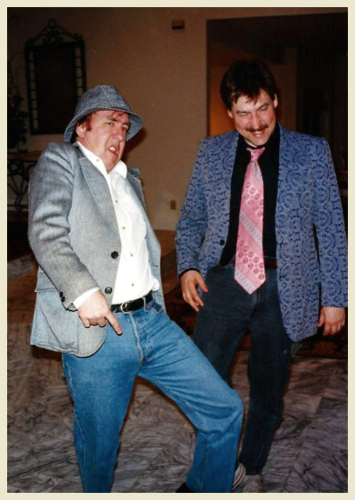 Terry McDonnell and John Salter at a mystery party around the same time