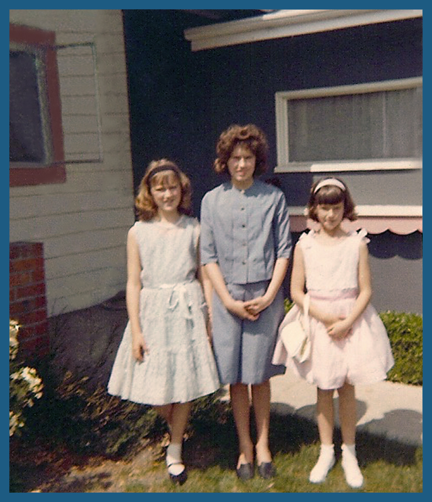 Janet, myself and Joyce in front of our Santa Clara house, circa 1965.