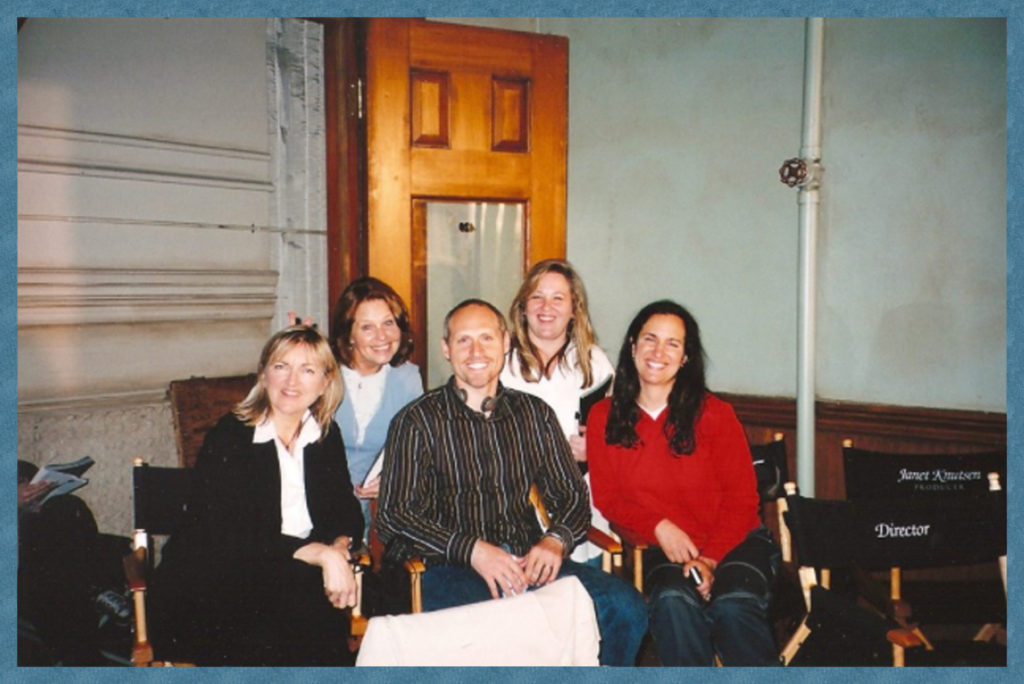 Janet and fellow producers of the Practice in front row, script supervisor and friend in back row.