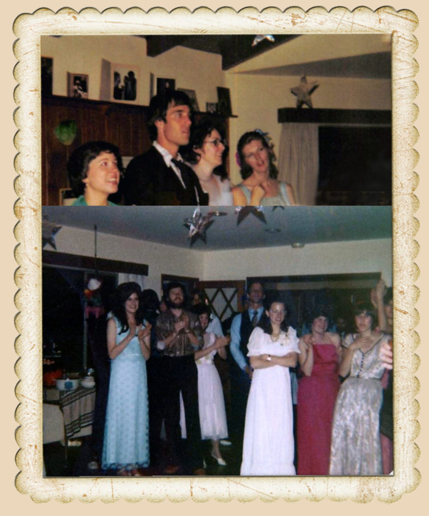 Karen Hermann, Russ Carpenter, ??, Vicki Hill - Waiting to learn who will be crowned Prom Queen (me, Michael Wasserman, Melanie Sayler, Diane Larson plus people I can't identify)