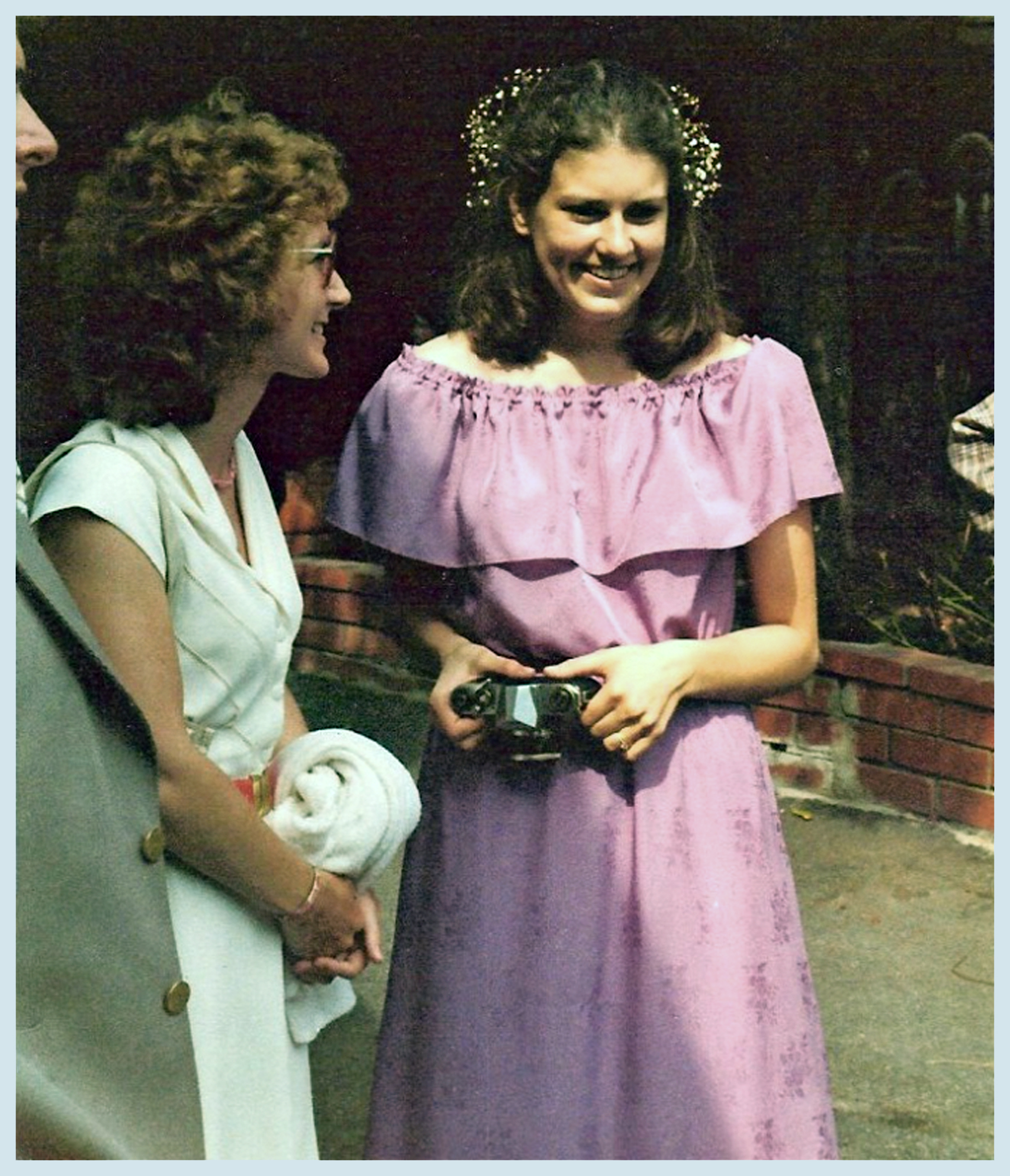 My sister Joyce put me in this dress for her 1980 wedding (with Denise Gail Williams)