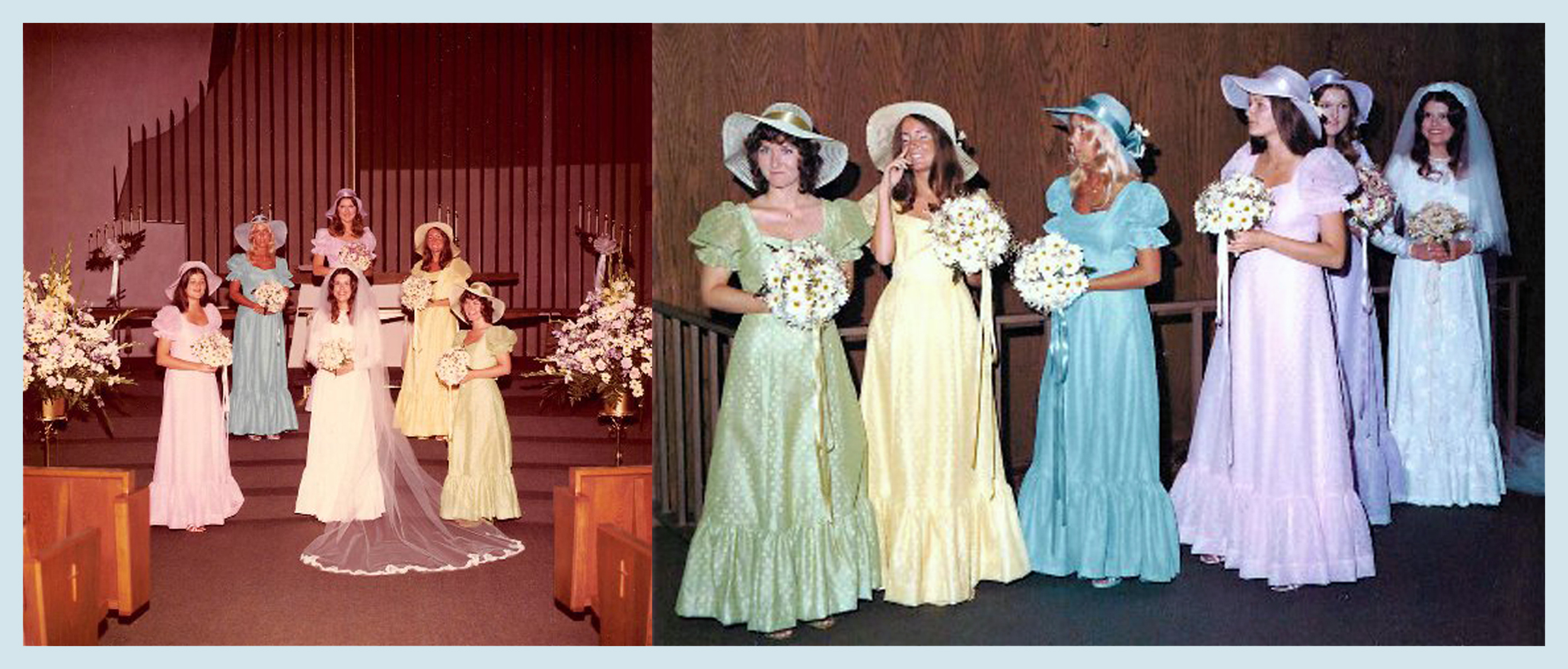 The dresses I forced my bridesmaids to wear (l to r - Joyce Knutsen Salter, Sandy Walker Hegwood, Janet Knusten McCann, Mary Bennett deNove, Denise Gail Williams) Picture on the left