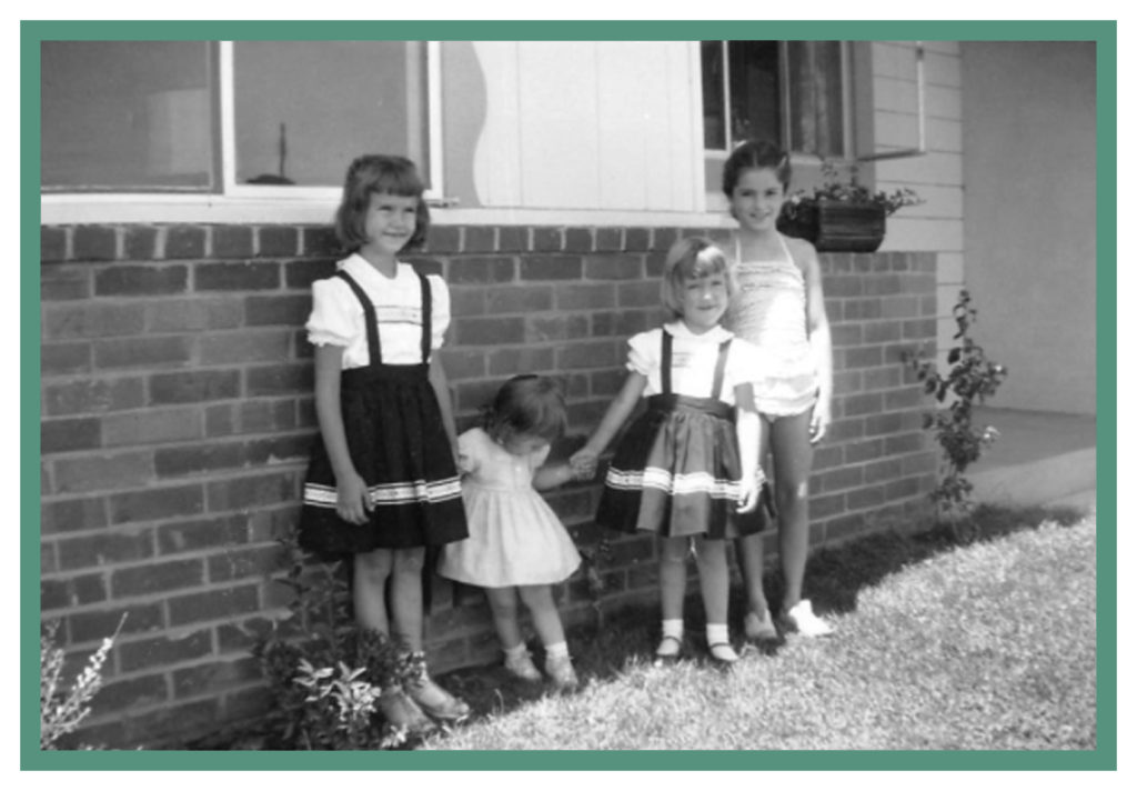 My sisters and I in front of our Santa Clara parsonage - the girl on the far right in the bathing suit is Alana (Lennie), a neighbor and early friend.