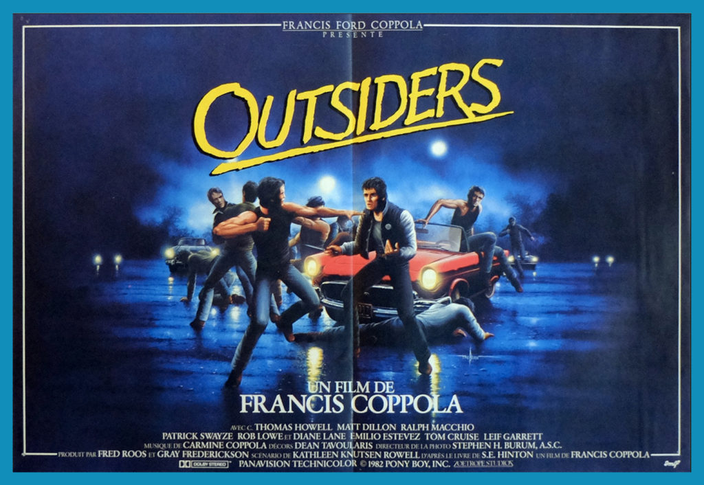 The French movie poster for the Outsiders clearly depicts tensions between the socs and the greasers.