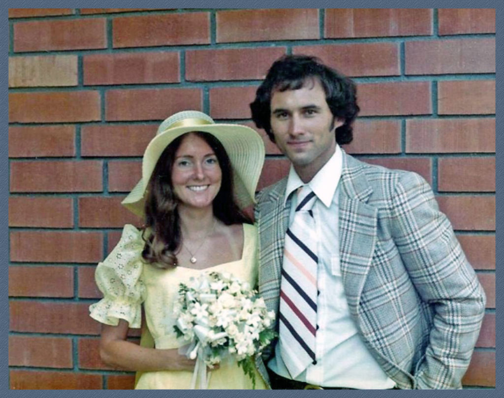 Mary (bridesmaid) and Jack at my wedding in 1975