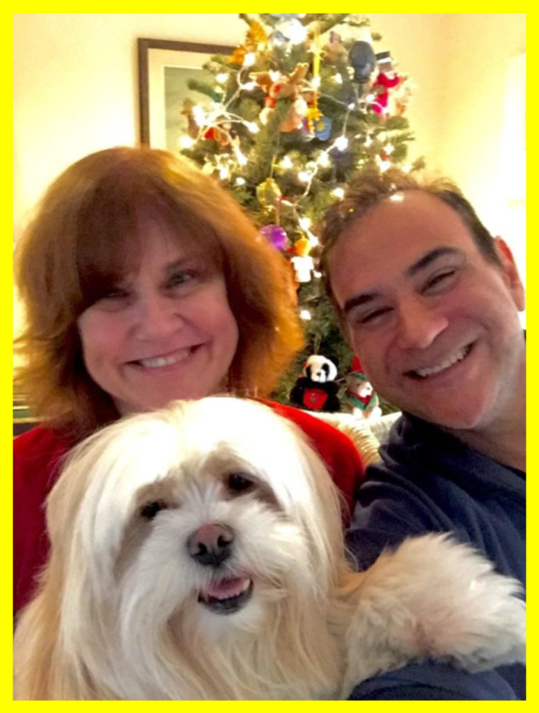 Chris and I last Christmas with Miss Zelda