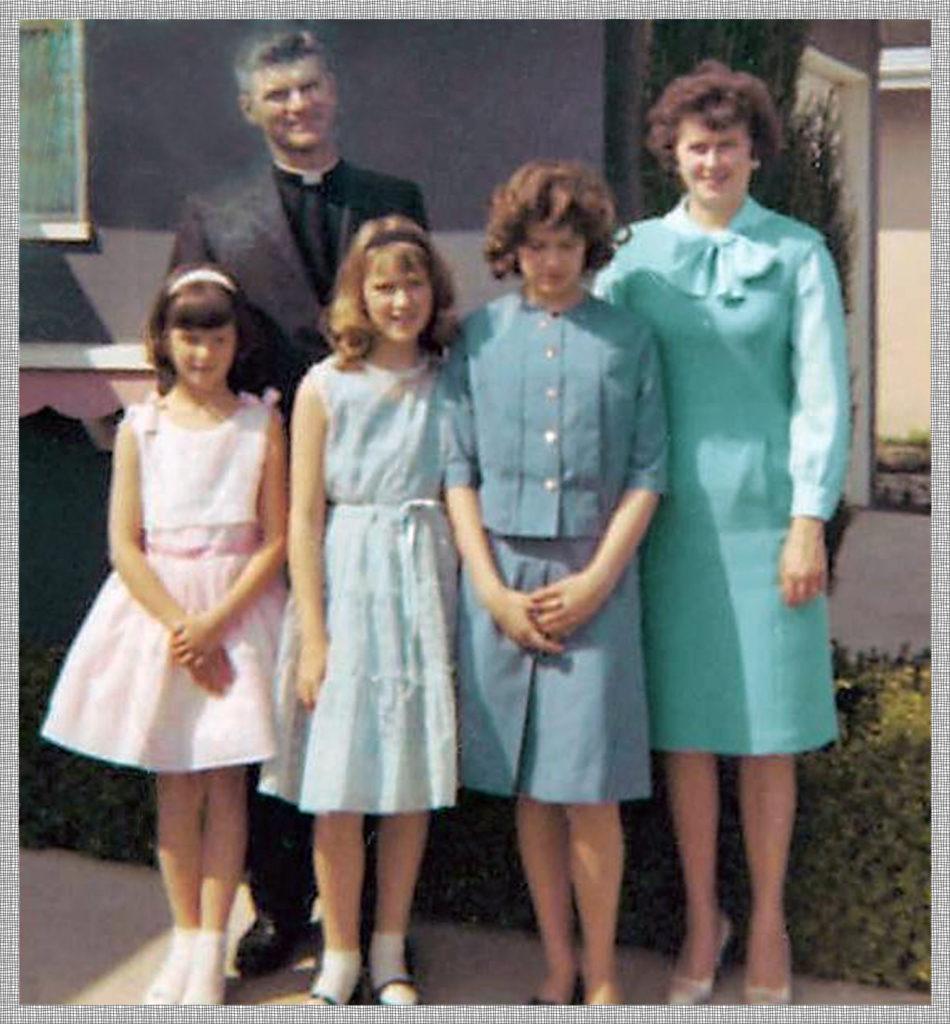 Unpopular nerd girl captured in family setting.
