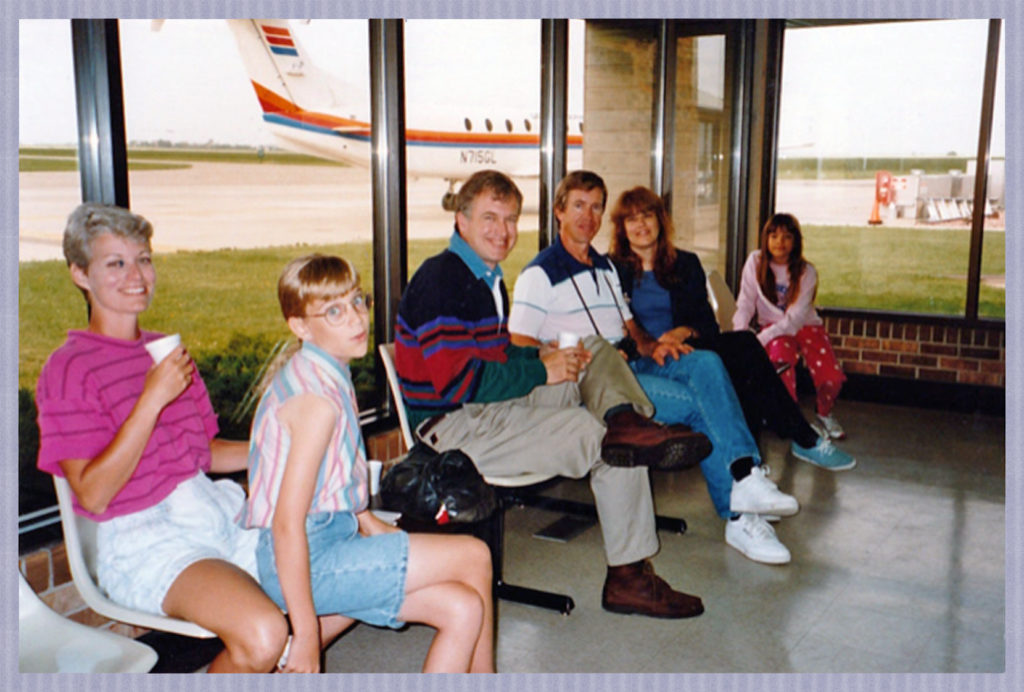 With my cousins at the tiny Spencer Iowa Airport