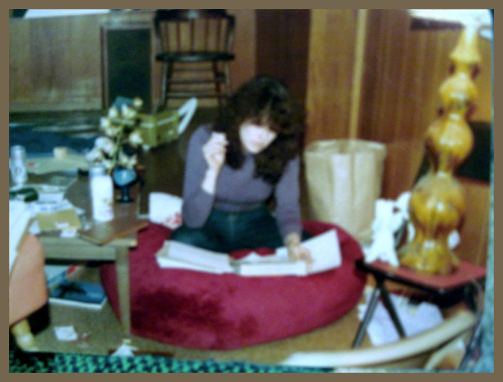 "Writing in ""the hamburger"" - which is what CD called our oh-so-seventies trendy bean-bag chair."