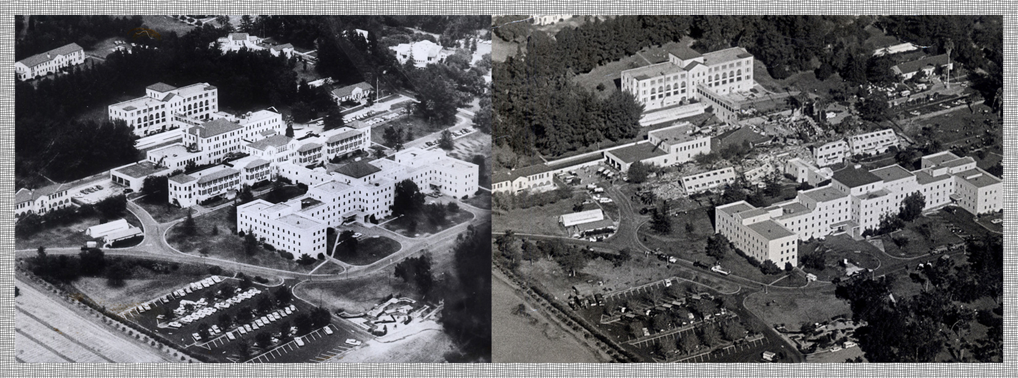 Sylmar Vetrans Hospital Prior to and the day of the 1971 earthquake.