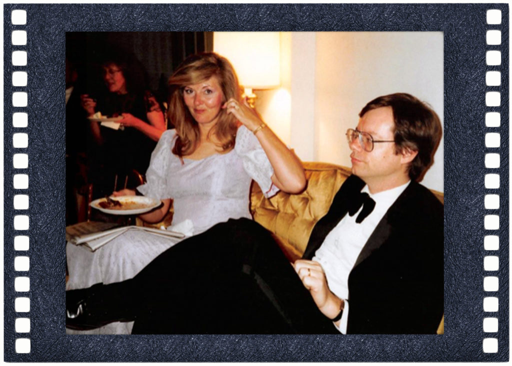 JoAnn Hill and John on classic eighties sofa