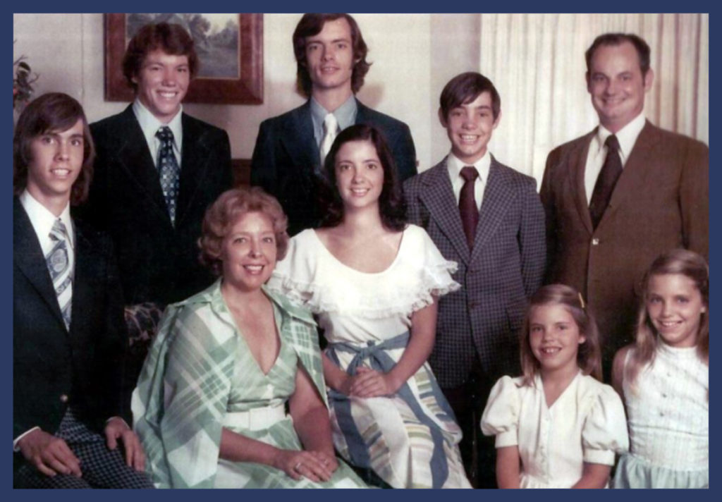 John's nuclear family around this time - top row Jimmy, J, Richard, Chet; bottom row Florence, lucy, Mary Frances and Mary Ann