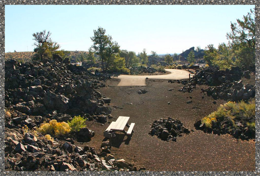 Craters of the Moon campground - lots of rocks to slice up knees
