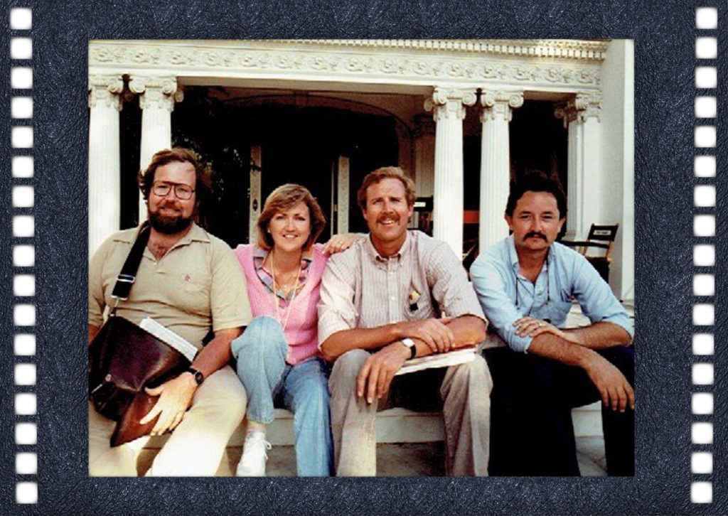 Janet with the other Assistant Directors from Rocky IV in front of Rocky's house in Fremont Place. Was actually across the street from Muhammad Ali's house in that elite enclave of Los Angeles.