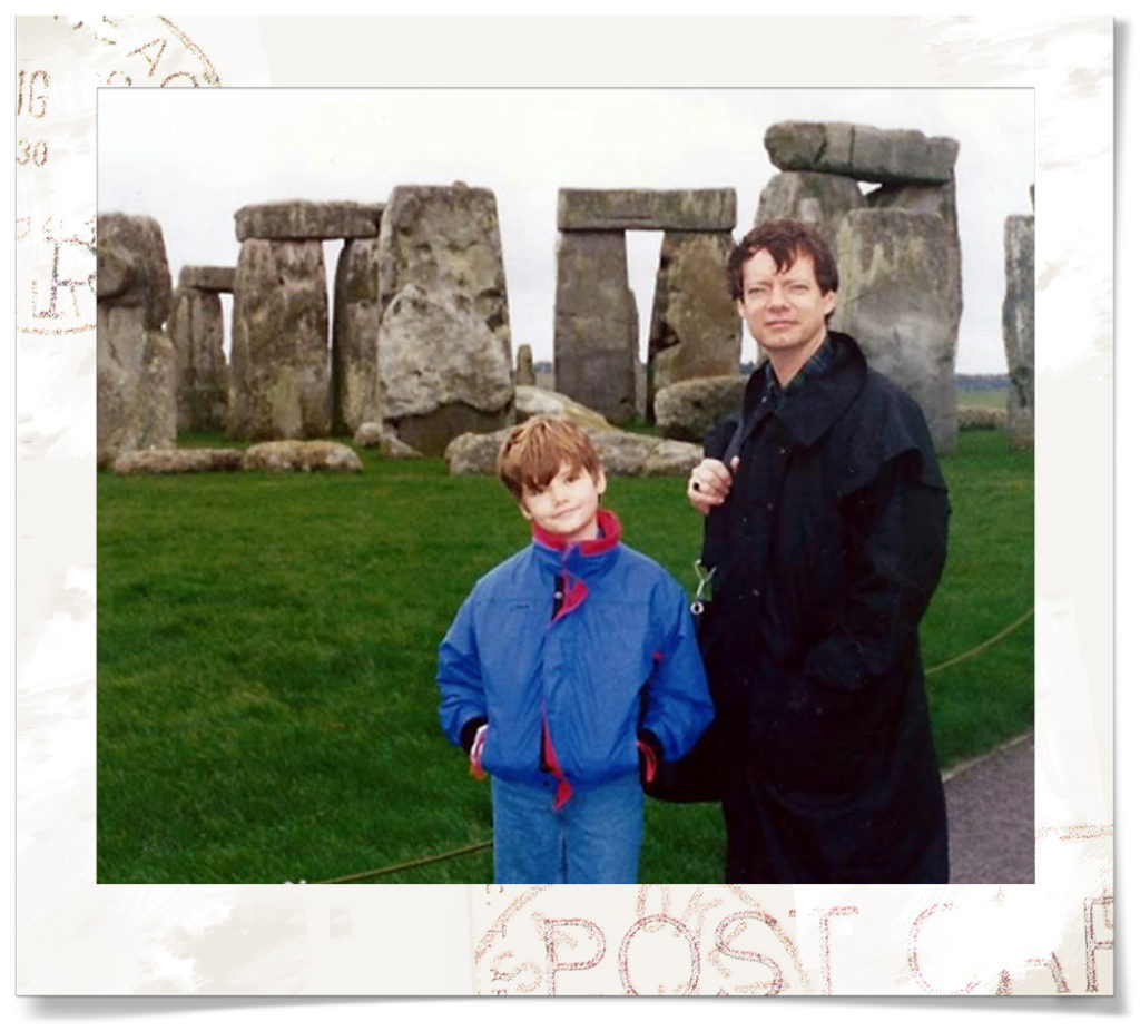 John and Alex at Stonehenge when you could still get close to it