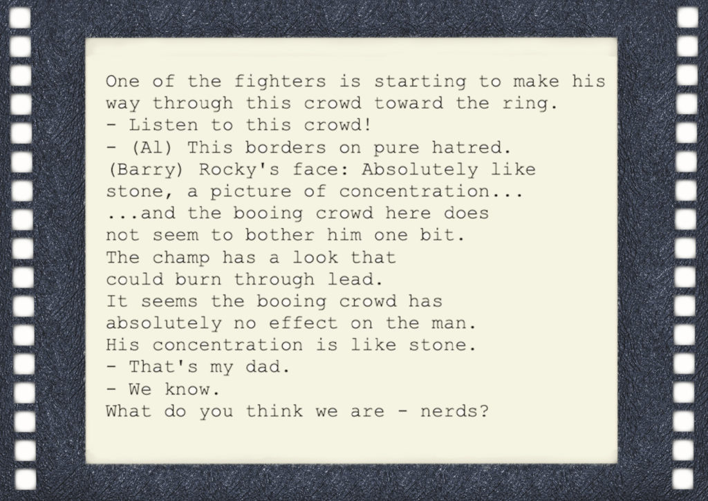 A clip taken from the Rocky IV screenplay