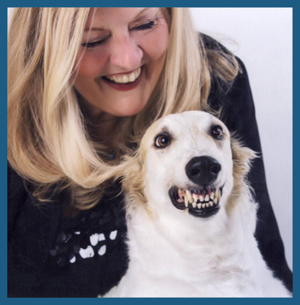 JoAnn and her smiling Borzoi (also called the Russian wolfhound)