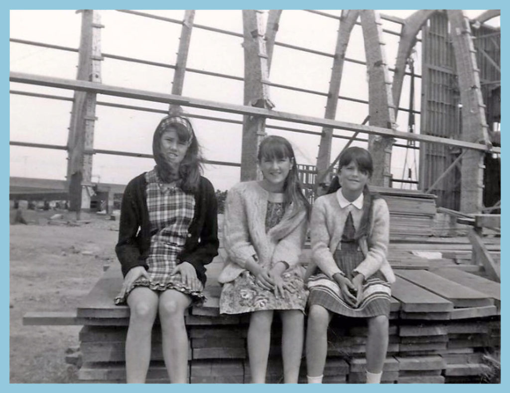 My sisters and I in front of Hope Lutheran under construction - 1966