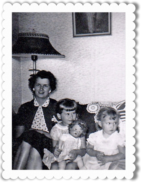 Am I holding Cindy? Maybe. This doll appears in several very young photos. With my mother and Janet.