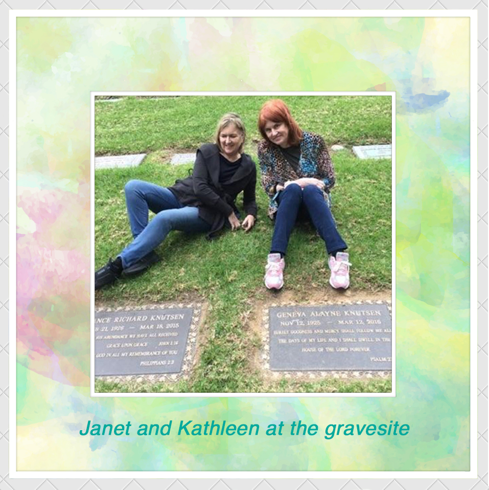 Janet and Kathleen at the gravesite