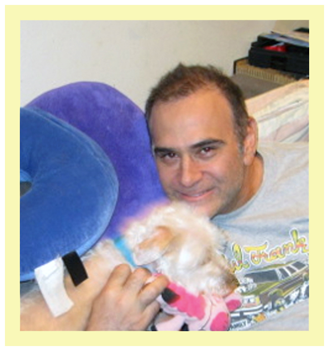 My friend of at least two decades, Chris Varaste, with my dog Nicky