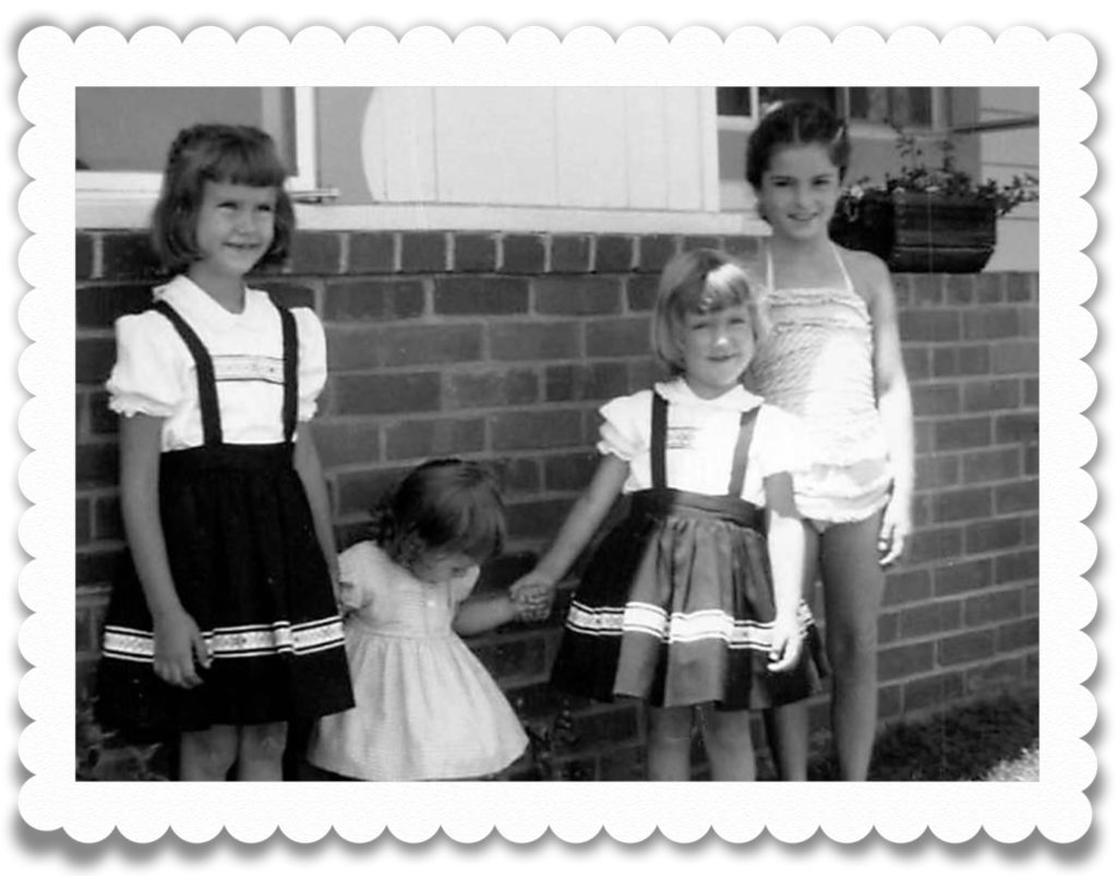 My sisters and I with Alana in August '57